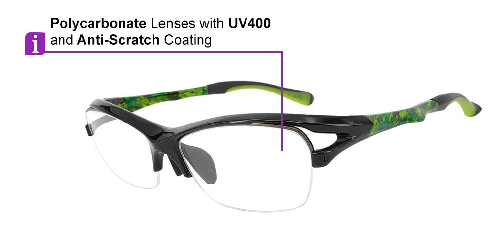 Fusion Sierra Prescription Safety & Sports Glasses Green