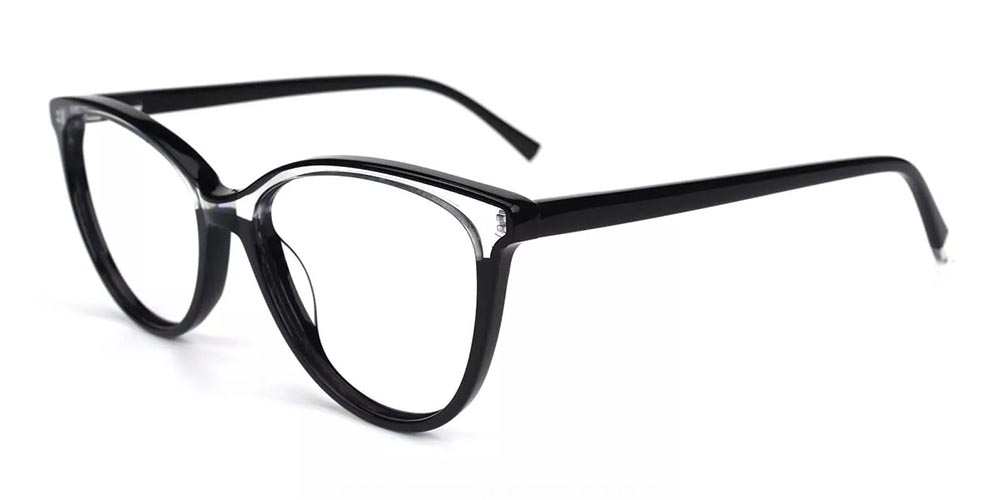 Pacoima Cat Eye Prescription Glasses - Hand Made Acetate - Clear Black