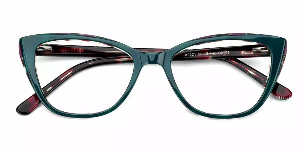 Cambridge Cat Eye Prescription Glasses - Handmade Acetate - Green