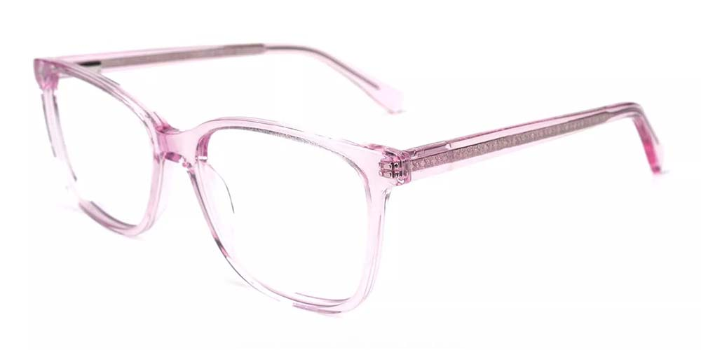 Lowell Prescription Glasses -- Hand Made Acetate -- Clear Pink