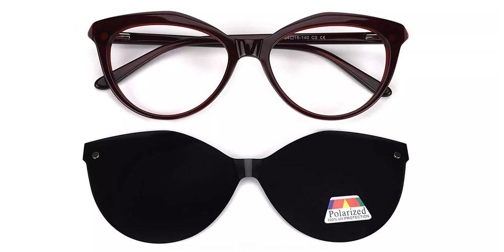 Provo Clip On Prescription Sunglasses - Hand Made Acetate - Dark Red