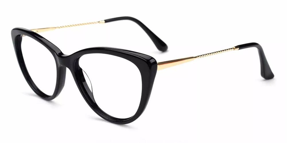 Aberdeen Cat Eye Prescription Glasses - Handmade Acetate - Black