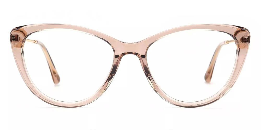 Aberdeen Cat Eye Prescription Glasses - Handmade Acetate - Clear Pink