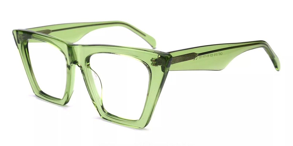 Concord Cat Eye Prescription Glasses - Handmade Acetate - Green