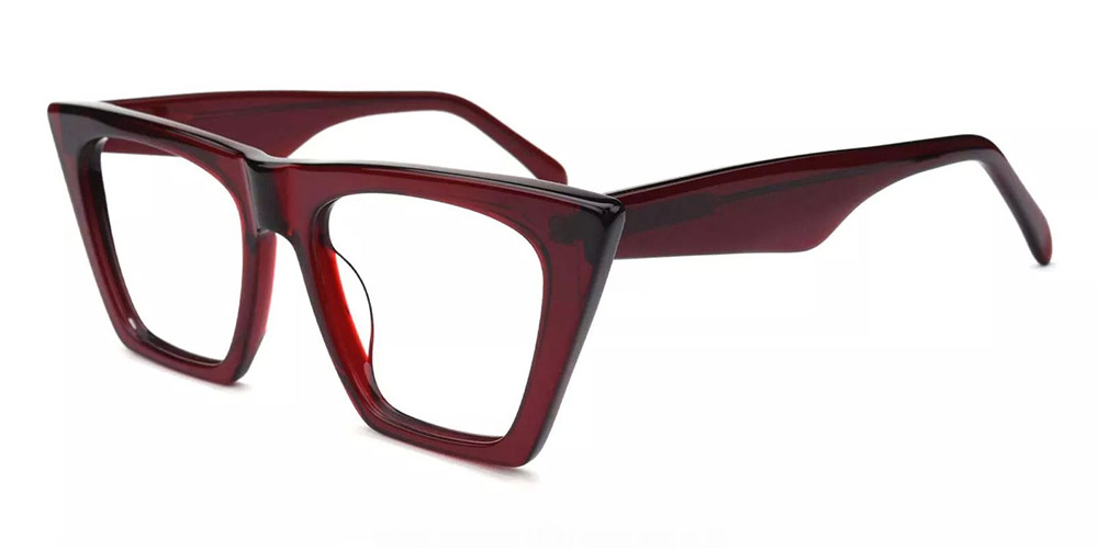 Concord Cat Eye Prescription Glasses - Handmade Acetate - Red
