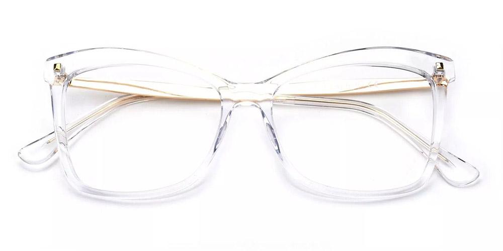 Visalia Cat Eye Prescription Glasses - Handmade Acetate - Clear