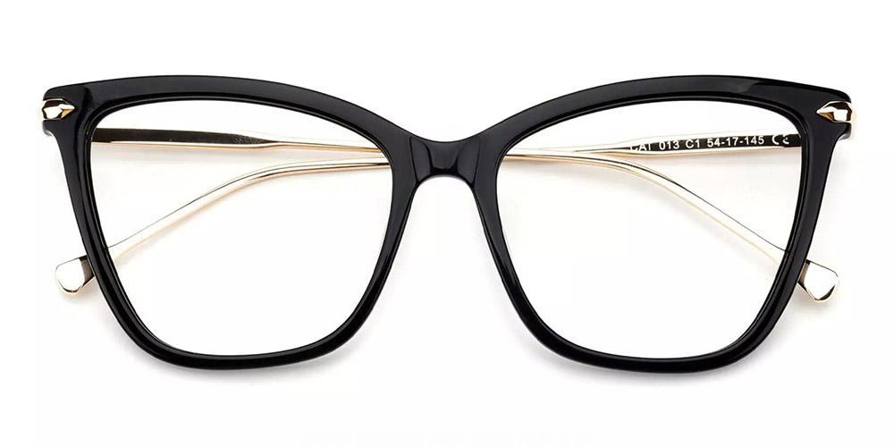 Hampton Cat Eye Prescription Glasses - Handmade Acetate - Black