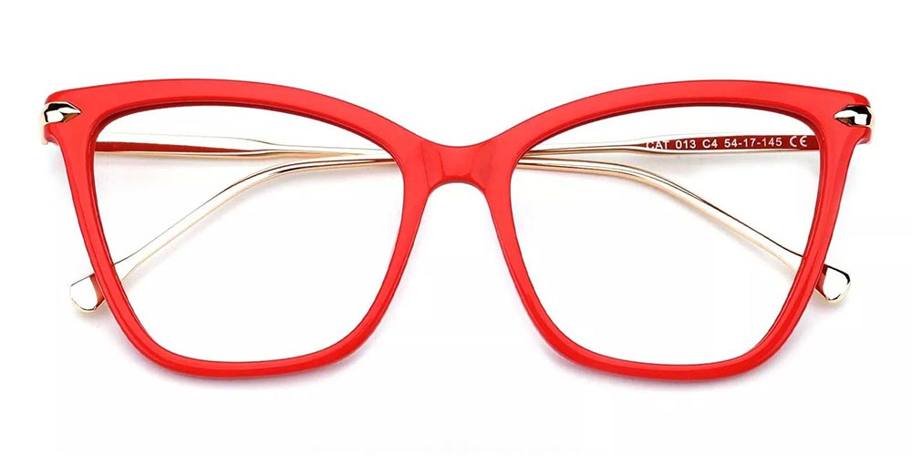 Hampton Cat Eye Prescription Glasses - Handmade Acetate - Red