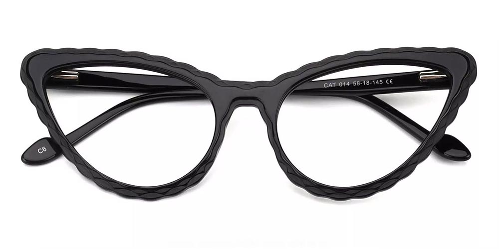Warren Cat Eye Prescription Glasses - Handmade Acetate - Black