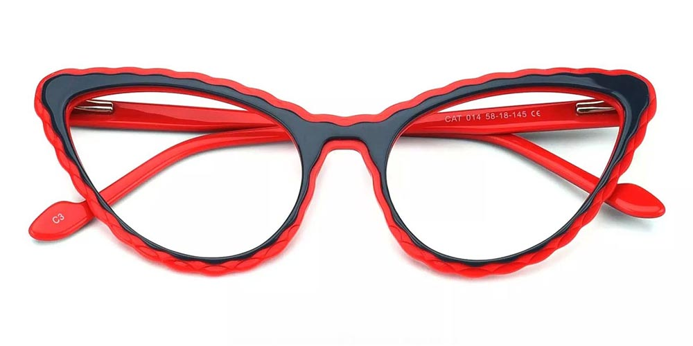 Warren Cat Eye Prescription Glasses - Handmade Acetate - Black Red