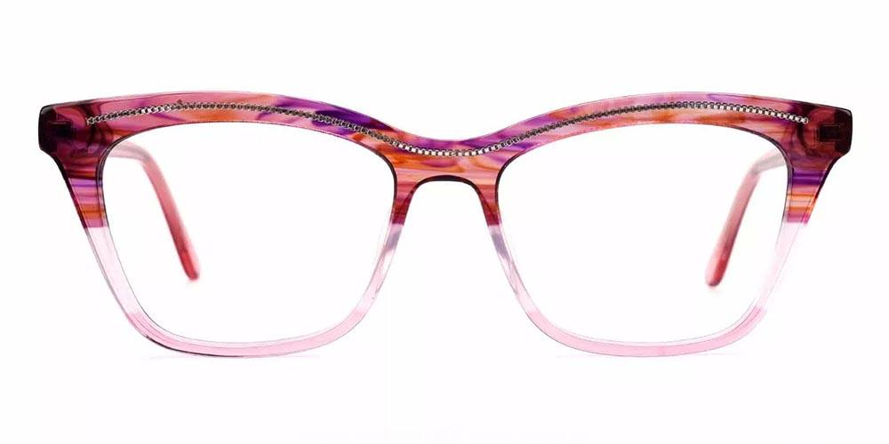 Roseville Cat Eye Prescription Glasses - Handmade Acetate - Red