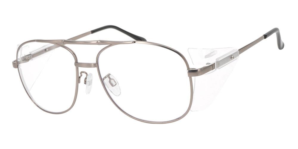 Frisco Aviator Prescription Safety Glasses Grey -- Impact Resistant Side Shields