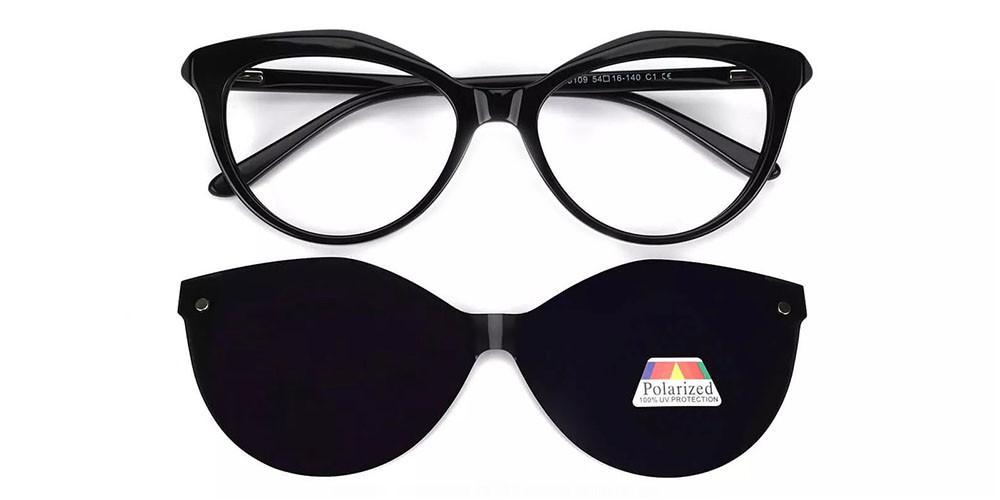 Provo Clip On Prescription Sunglasses - Hand Made Acetate - Black