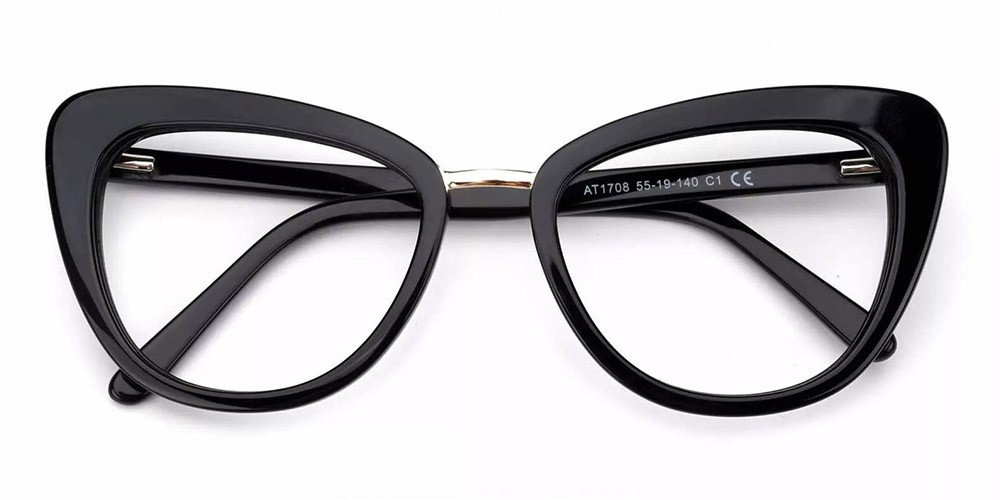 Abilene Cat Eye Prescription Glasses - Handmade Acetate - Black
