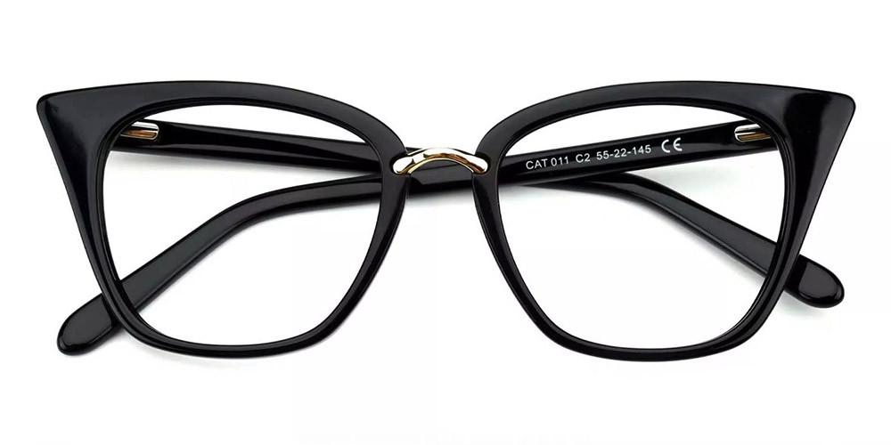 Stamford Cat Eye Prescription Glasses - Handmade Acetate - Black