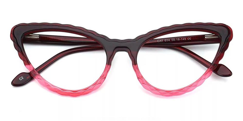 Warren Cat Eye Prescription Glasses - Handmade Acetate - Red