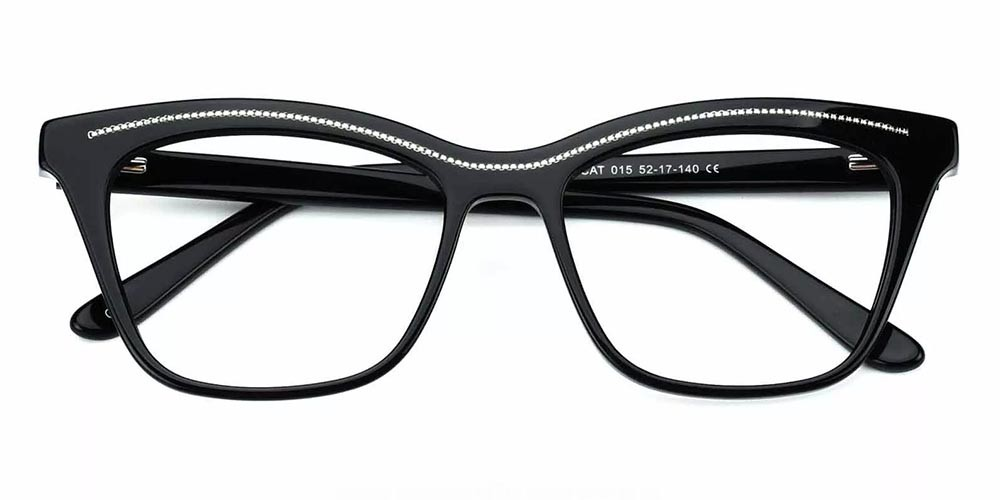 Roseville Cat Eye Prescription Glasses - Handmade Acetate - Black