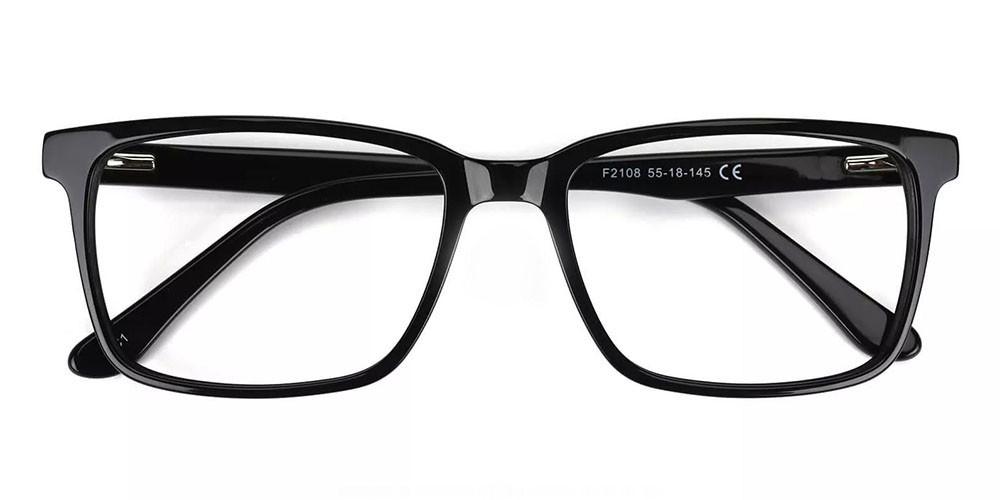 Quincy Prescription Glasses - Handmade Acetate - Black