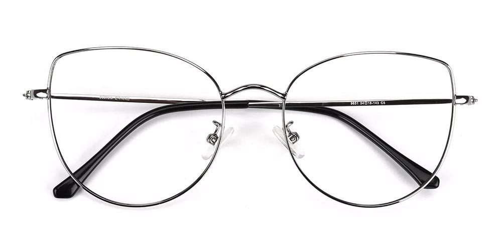 Beaumont Metal Cat Eye Prescription Glasses Silver