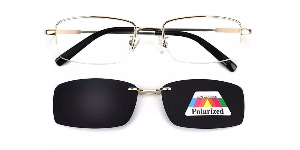 Rochester Clip On Prescription Sunglasses - Memory Titanium - Gold