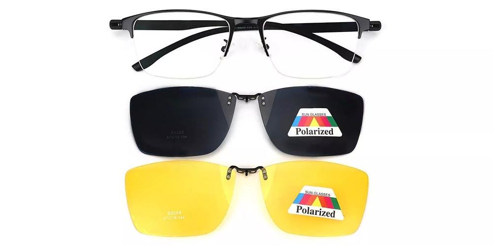Evans Clip On Prescription Sunglasses Black - 2 Clips