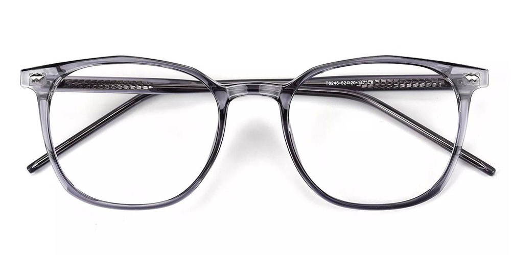 Knoxville Prescription Glasses - Light & Strong TR90 - Clear Grey