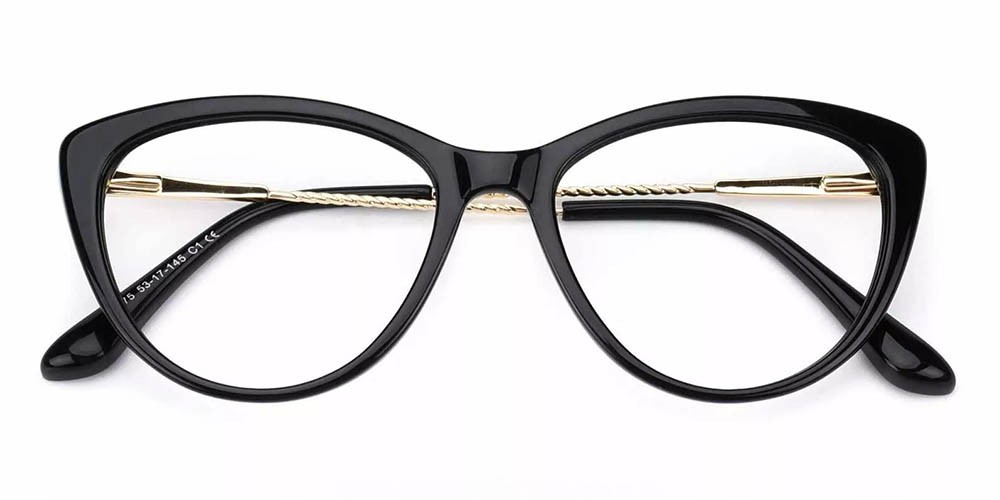 Aberdeen Cat Eye Prescription Glasses - Handmade Acetate - Black