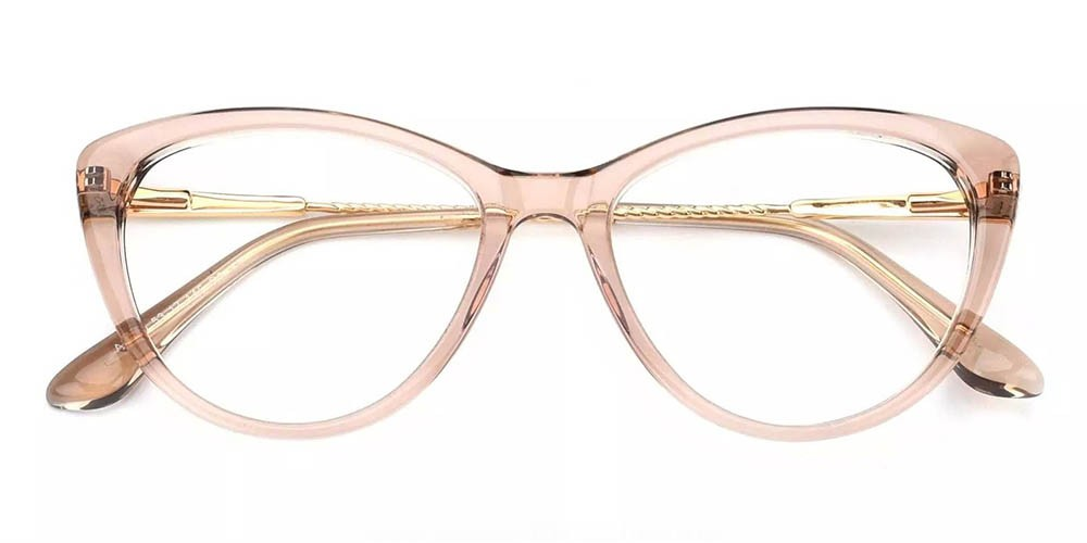 Aberdeen Cat Eye Prescription Glasses - Handmade Acetate - Clear Pink