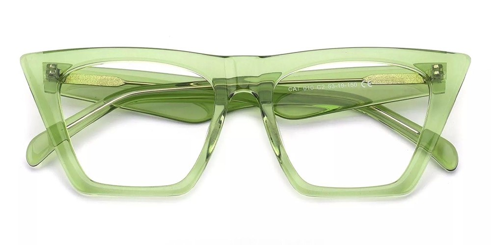 Concord Cat Eye Prescription Glasses - Handmade Acetate - Green