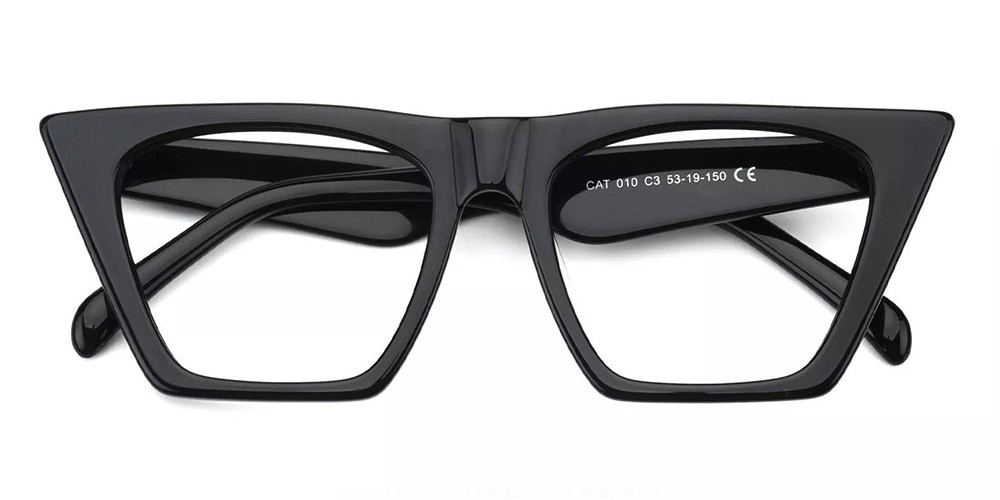 Concord Cat Eye Prescription Glasses - Handmade Acetate - Black