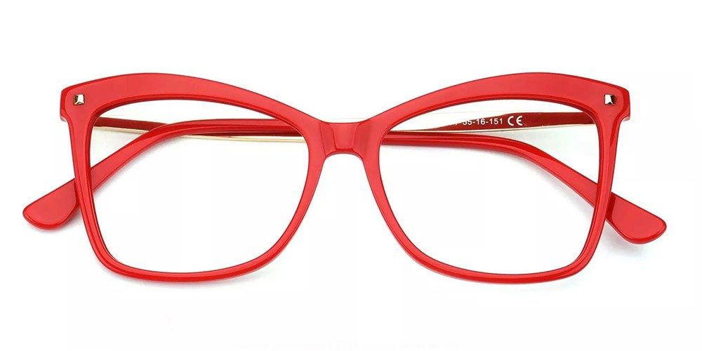 Visalia Cat Eye Prescription Glasses - Handmade Acetate - Red