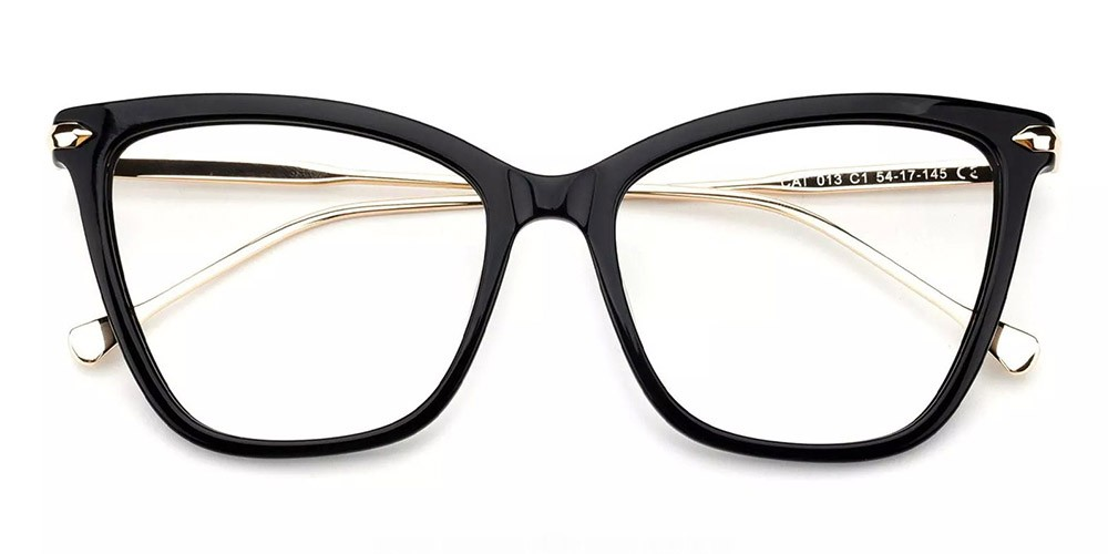Hampton Cat Eye Prescription Glasses - Handmade Acetate - Black