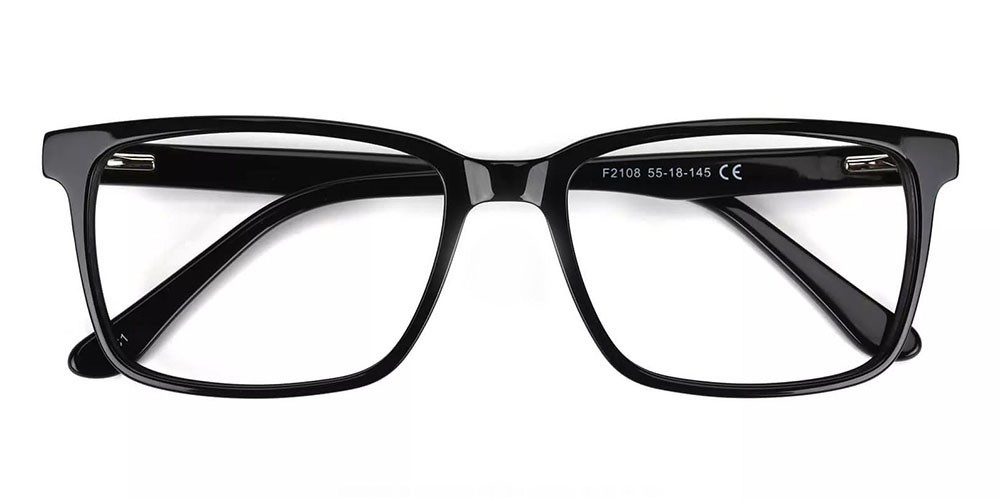 Quincy Prescription Glasses - Handmade Acetate - Black