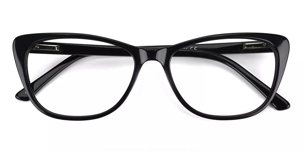 Tyler Cat Eye Prescription Glasses - Handmade Acetate - Black