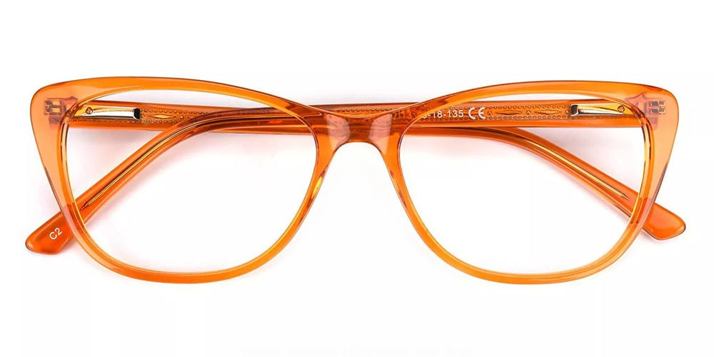 Tyler Cat Eye Prescription Glasses - Handmade Acetate - Orange