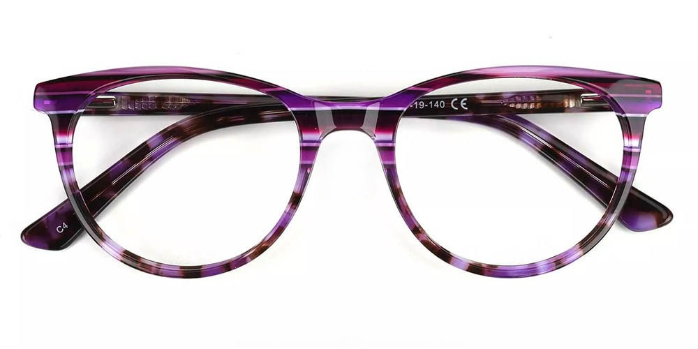 Athens Cat Eye Prescription Glasses - Handmade Acetate - Purple