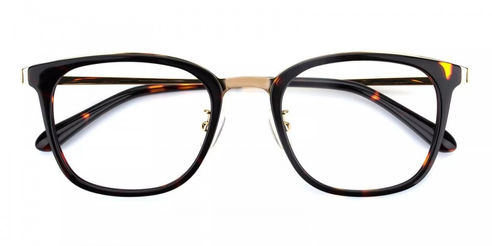 Vista Acetate Eyeglasses Black Demi Amber