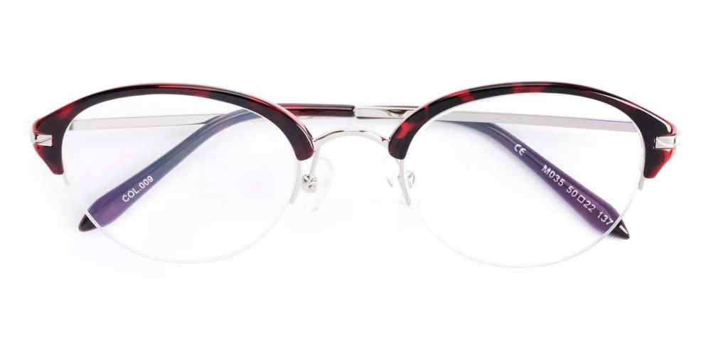 Burbank Half Rim Eyeglasses Red