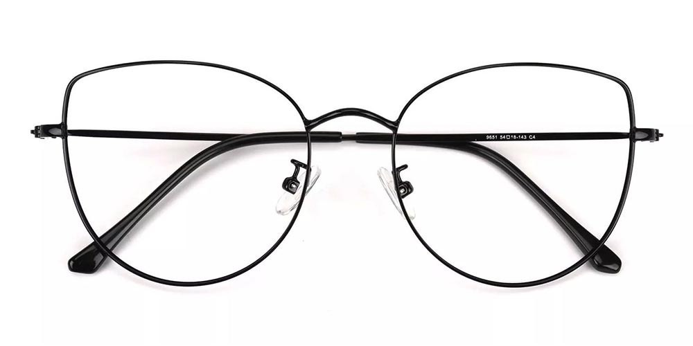 Beaumont Metal Cat Eye Prescription Glasses Black