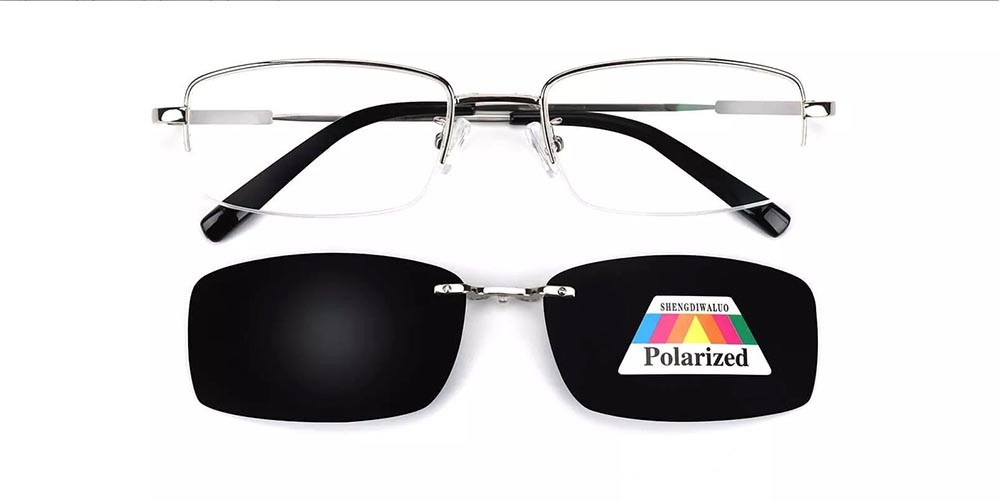 Rochester Clip On Prescription Sunglasses - Memory Titanium - Silver