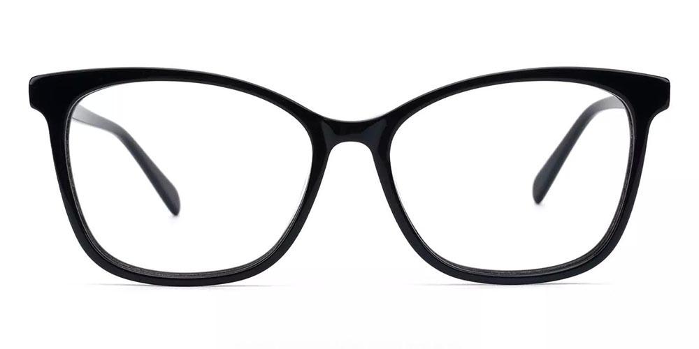Benicia Cat Eye Prescription Glasses - Handmade Acetate - Black