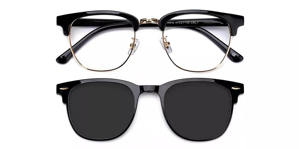 Ontario Clip On Prescription Sunglasses Black