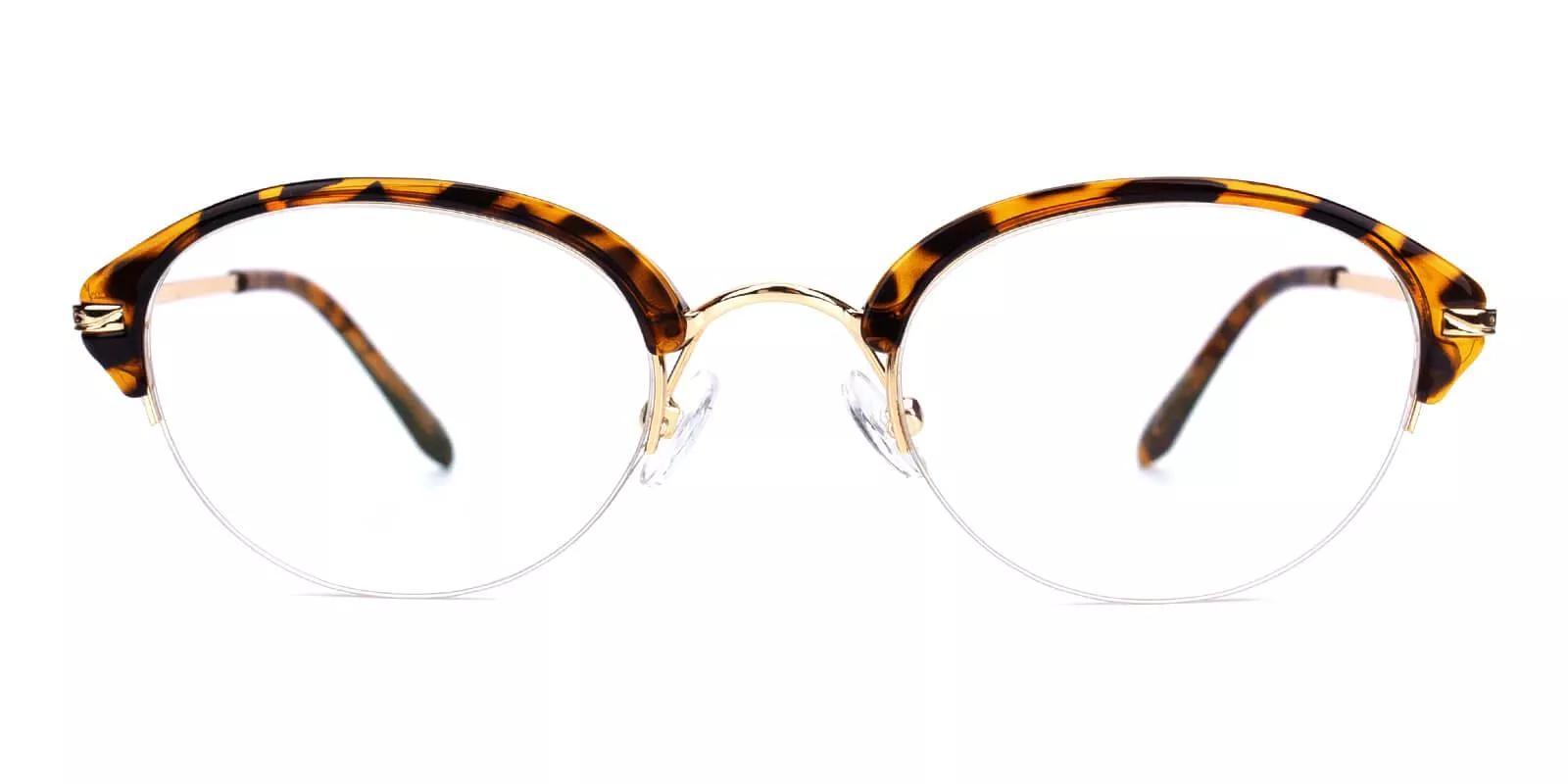 Burbank Half Rim Eyeglasses Demi Amber