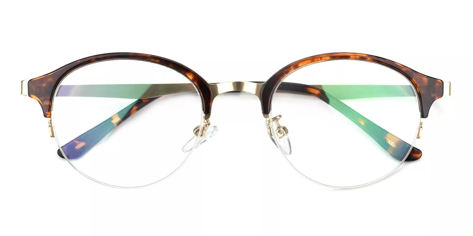 Meridian Half Rim Eyeglasses Demi Amber
