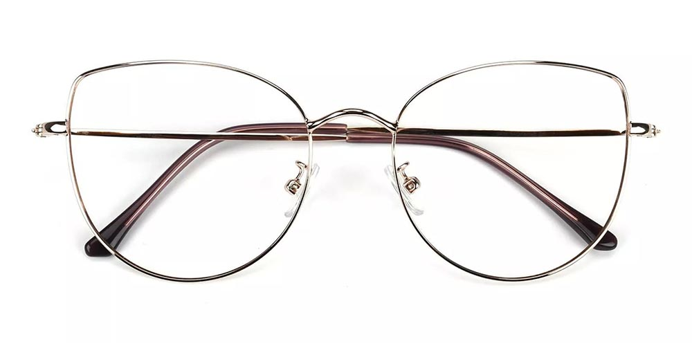 Beaumont Metal Cat Eye Prescription Glasses Gold