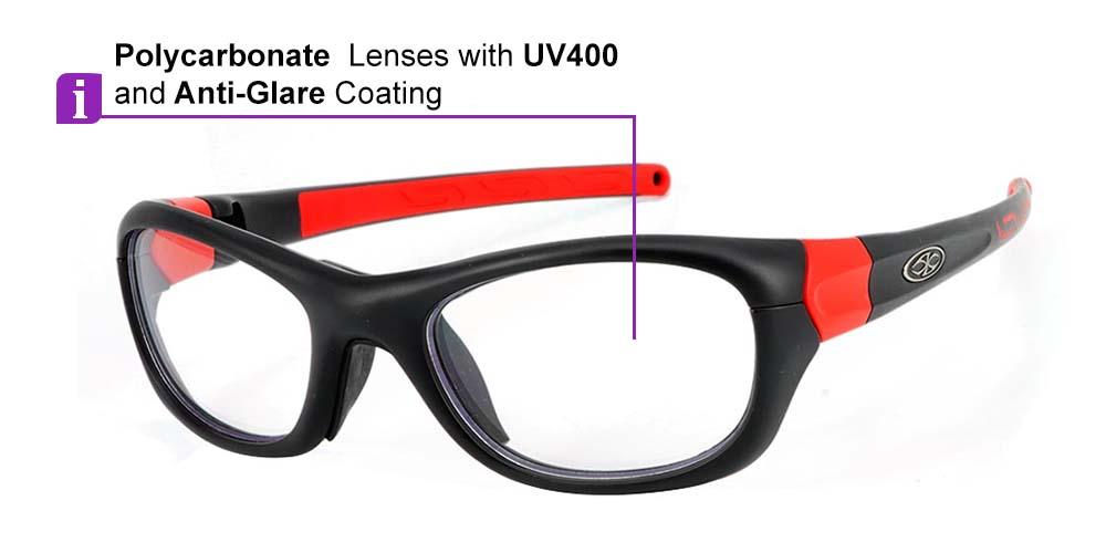 Matrix Boston Prescription Safety & Sports Glasses Black Red