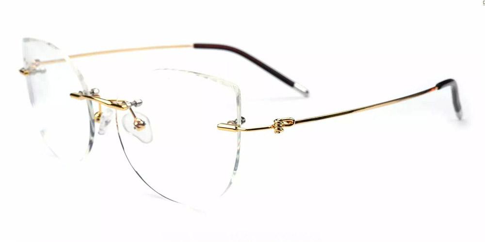 Kileen Rimless Prescription Glasses Gold