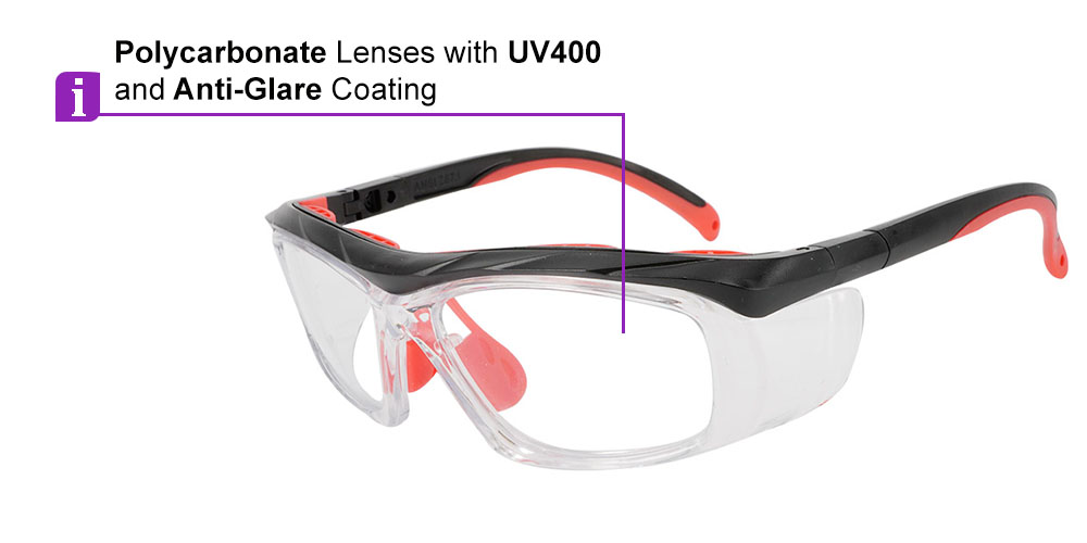 Fusion Plano  Prescription Safety Glasses Red - ANSI Z87.1 Certified Stamped