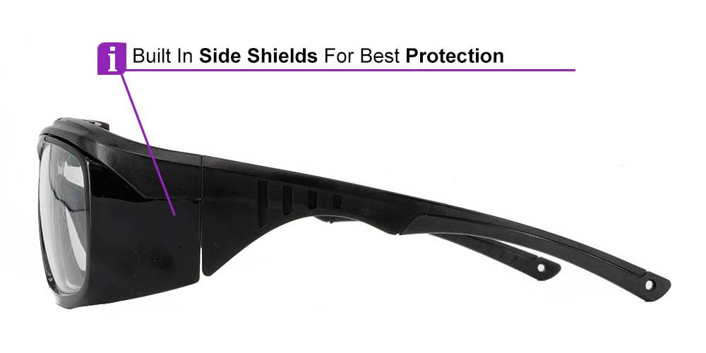Fusion Omaha Prescription Safety Glasses Black - - ANSI Z87.1 Certified Stamped