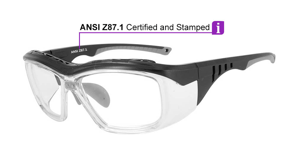 Fusion Omaha Prescription Safety Glasses Grey - - ANSI Z87.1 Certified Stamped